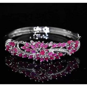 Jewelry - Diamond Bangle Pink Sapphire 14 Carats Women White